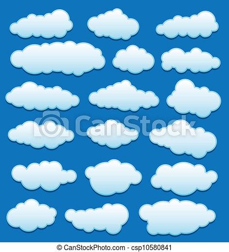vektor, himmelsgewölbe, satz, wolkenhimmel - csp10580841