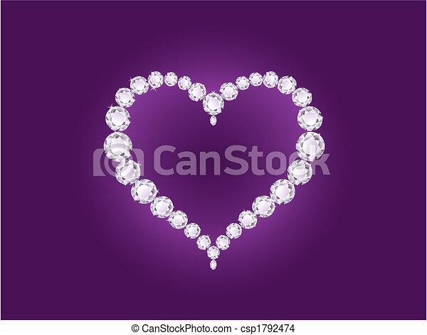 vektor, hjärta, diamant, bakgrund, violett - csp1792474