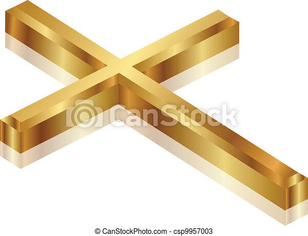 vektor, illustration, guld, kors - csp9957003