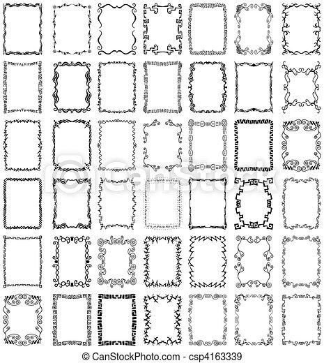 vektor, inramar, kanter, sätta, kollektion - csp4163339