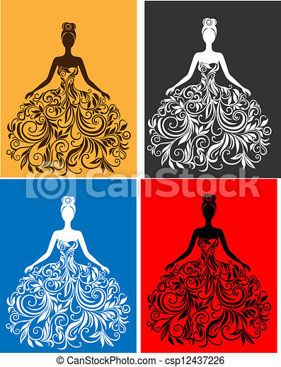 vektor, kleiden, frau, silhouette, junger - csp12437226