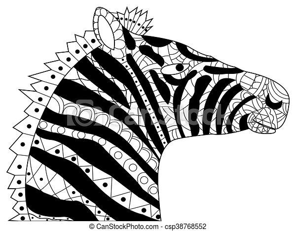 Vektor, kopf, färbung, erwachsene, zebra. Kopf, färbung,... Clipart ...