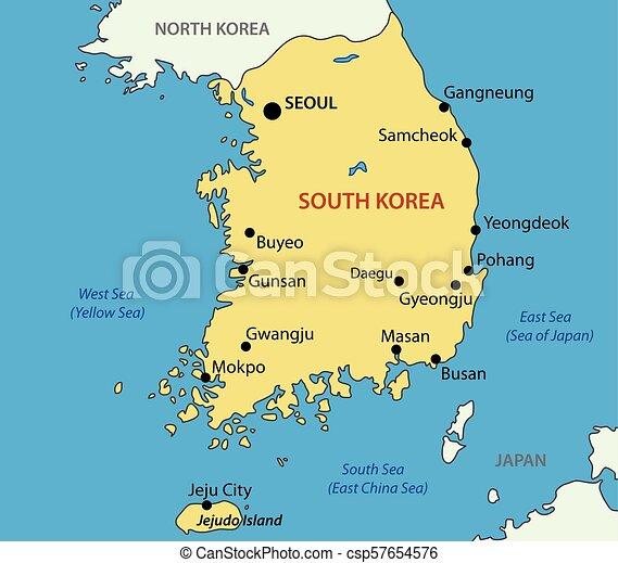 Vektor Landkarte Korea Republik