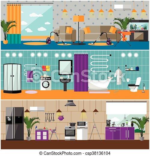 Marvelous Vektor, Lebensunterhalt, Wohnung, Möbel, Haus, Zimmer, Banners., Satz