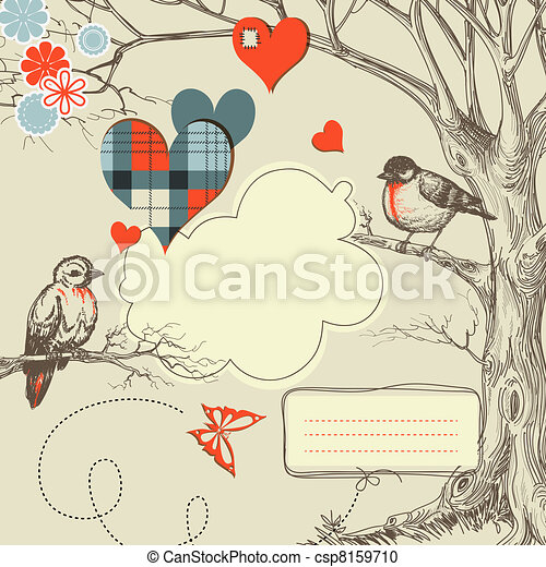 vektor, liebe, abbildung, wälder, vögel, talk - csp8159710