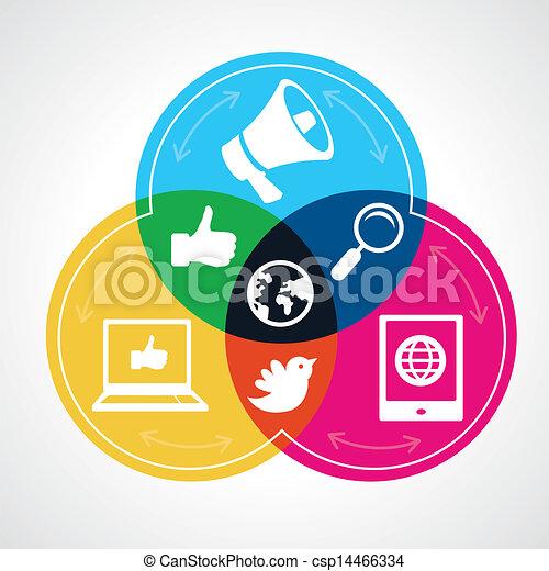 vektor, medien, begriff, sozial - csp14466334