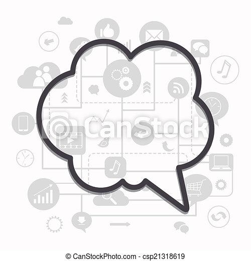 vektor, medien, begriff, sozial - csp21318619