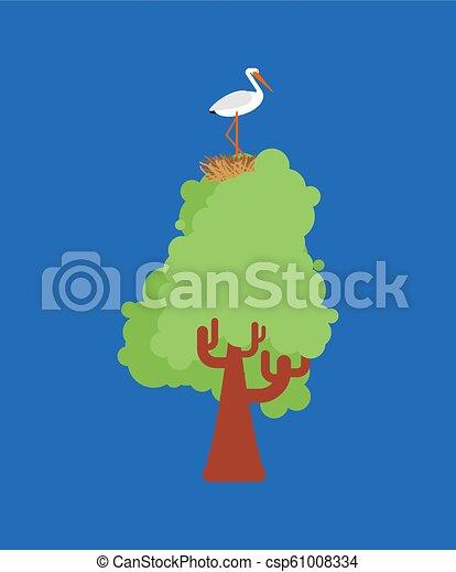 Storch im Nest auf Baum. Vector Illustrator Vogel - csp61008334