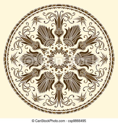 vektor, ornament. - csp9866495