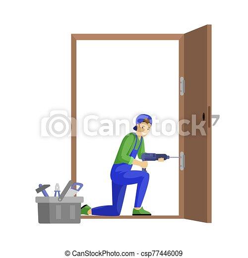 vektor, profi, ács, fiatal, lakás, fehér, character., rögzítő, kézműves, elszigetelt, ajtó, munka, illustration., fúr, fizikai munkás, zsanér, elektromos, repairman, karikatúra, háttér, alkalmas, használ - csp77446009