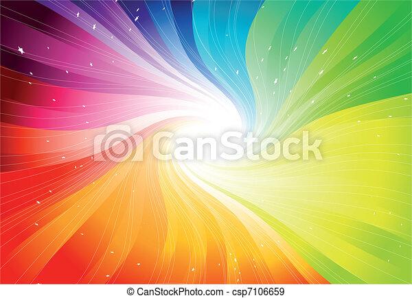 vektor, regnbue, starburst, farvet - csp7106659