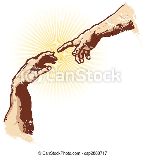 vektor, religion, skapelse, illustration, räcker - csp2883717