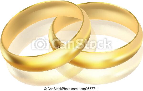 vektor, ringer, illustration, guld - csp9567711