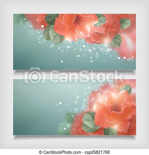 vektor, rosen, blumen, banner, blank - csp25821768