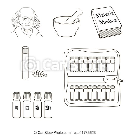 vektor, sätta, icons., homeopathy. - csp41735628