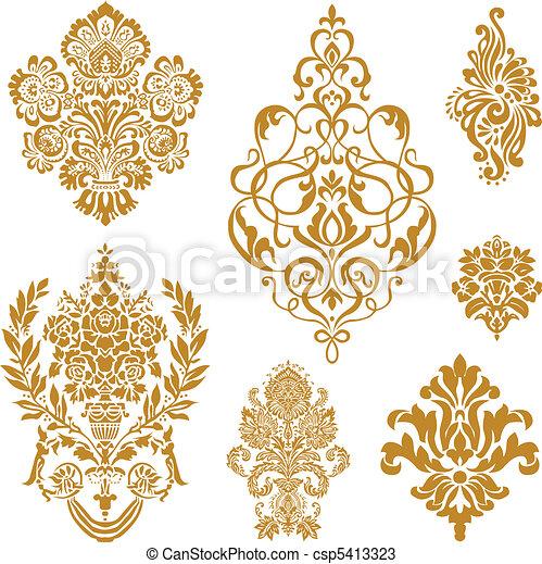 vektor, sätta, prydnad, guld, damast - csp5413323