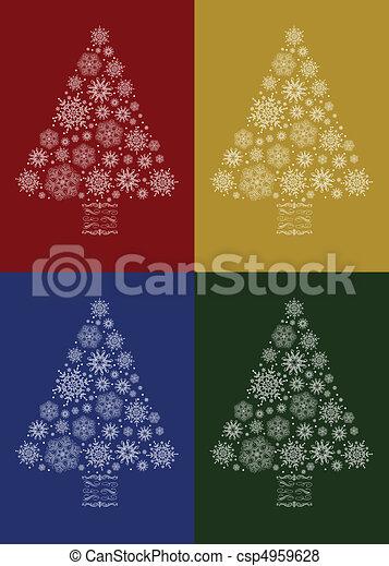 vektor, sätta, träd, jul - csp4959628