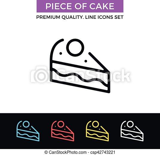 Vektor Schlanke Kuchen Icon Stuck Linie Ikone Satz Einfache