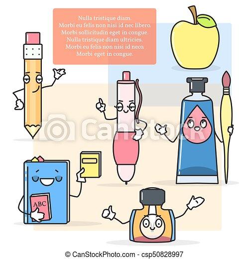 Vektor, schule, begriff, farben, bleistift, items., zurück,... EPS ...