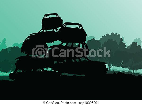 vektor, scrapyard, begriff, altes , friedhof, auto, metall, abbildung, recycelbar, gebraucht, ökologie, hintergrund, autos, industrie, landschaftsbild - csp18398201