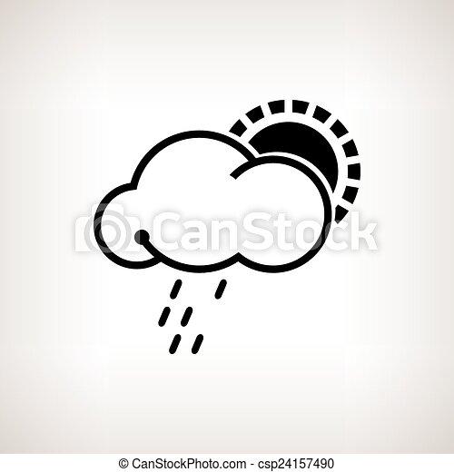 vektor, silhouette, sonne, wolke, regen, abbildung - csp24157490