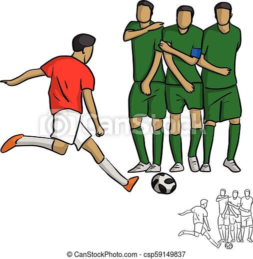 Vektor Skizze Fussball Wand Gekritzel Linien