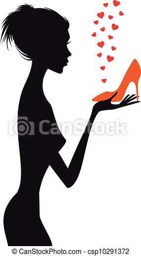 vektor, sko, kvinna, mode, röd - csp10291372