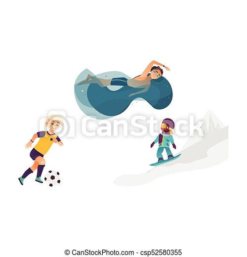 Vektor Sport Satz Karikatur Kinder Draussen Eins Noch