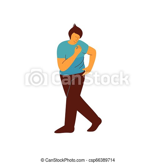 vektor, tánc, betű, fiatal, ábra, táncos, hím, ember - csp66389714
