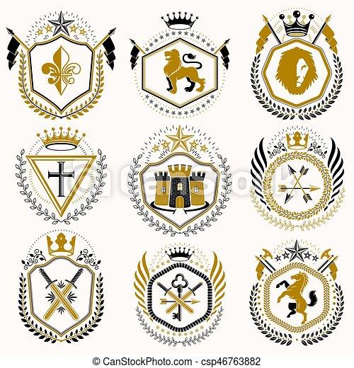 Vector Vintage heraldic Coat of Arms entworfen in Auszeichnung Stil. Mittelalterliche Türme, Rüstungen, königliche Kronen, Sterne und andere grafische Elemente Sammlung. - csp46763882