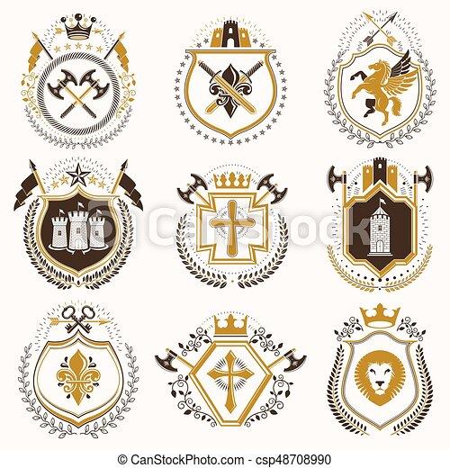 vektor, türme, elemente, mittelalterlich, kronen, collection., weinlese, ritterwappen, grafik, königlich, arme, auszeichnung, waffenkammer, andere, design, entworfen, sternen, mantel, style. - csp48708990