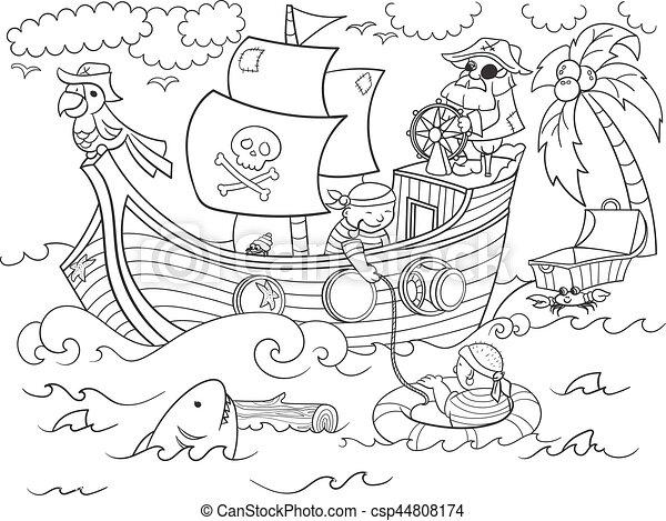 Vektor, thema, färbung, piraten, kinder. Kaufmann,... Vektoren ...