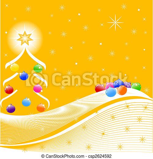 vektor, träd, utsmyckningar, illustration, jul - csp2624592