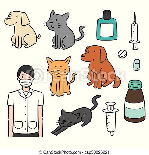vektor, utrustning, sätta, djur, veterinär - csp58226221