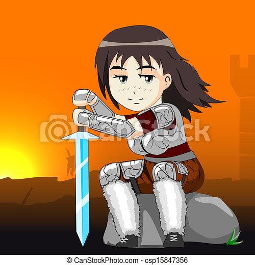 vektor, válečník, kůň, manželka - csp15847356