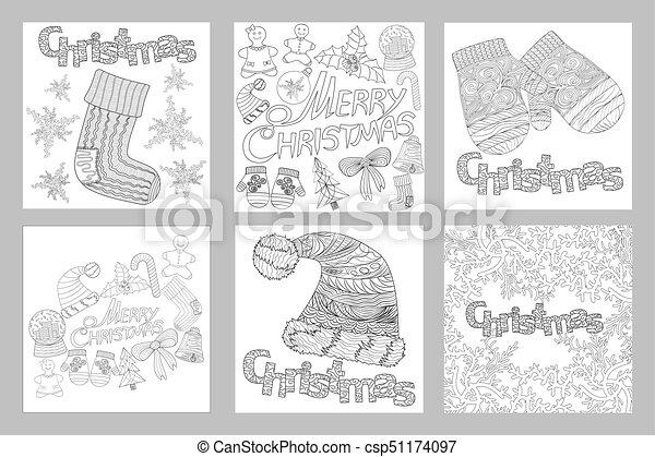 Vektor, weihnachten, färbung, gegenstände, muster, hand,... EPS ...