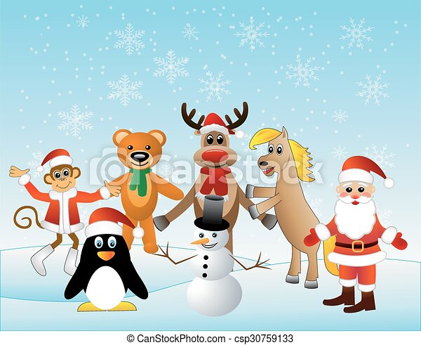 Weihnachtskarten Tiere.Vektor Weihnachtskarte Tiere
