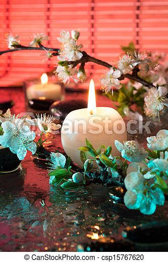 vela, flores, amêndoa - csp15767620