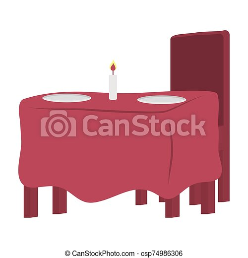 vela, restaurante, tabla, plato - csp74986306