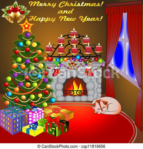 Dibujos Chimeneas De Navidad.Velas Arbol Gato Regalos Chimenea Navidad