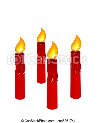velas, advenimiento, rojo, abrasador - csp6361741
