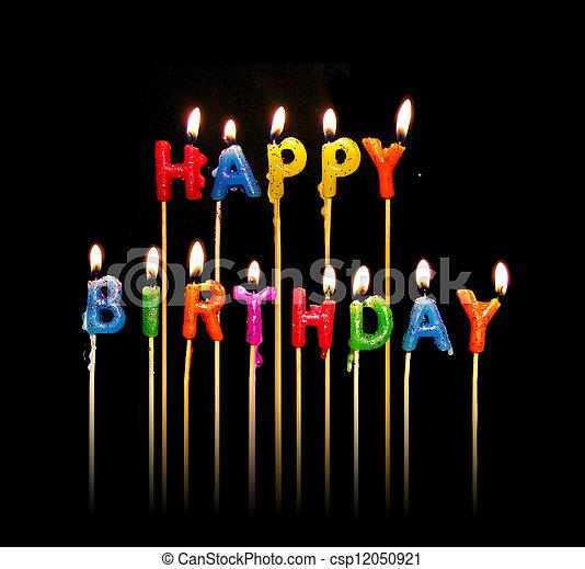 velas, aniversário, feliz - csp12050921