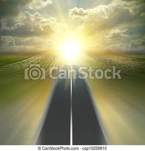 velocidad, encima, campo de cielo, manera, col, multa, asfalt, camino - csp10258810