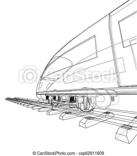 velocidade, trem, vetorial, modernos, concept. - csp62911609