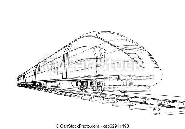 velocidade, trem, vetorial, modernos, concept. - csp62911493