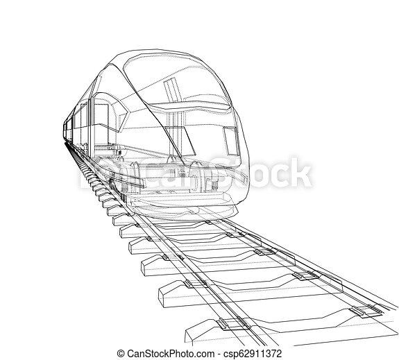velocidade, trem, vetorial, modernos, concept. - csp62911372