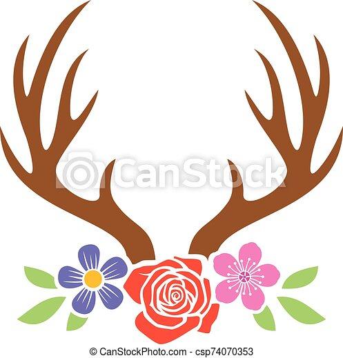 venado, flores, cuernos - csp74070353