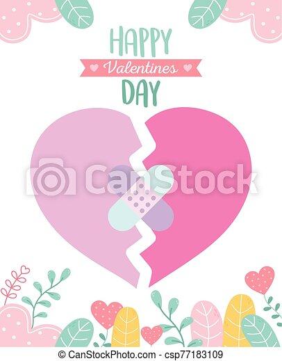 venda, corazones, feliz, corazón, hojas, ayuda, día, roto, valentines, follaje - csp77183109
