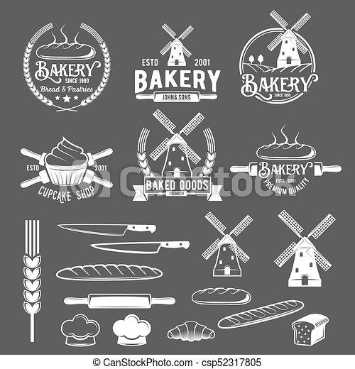 vendange, étiquettes, collection, boulangerie, retro, logo, insignes - csp52317805