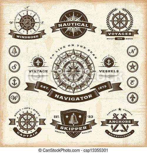 vendange, étiquettes, ensemble, nautique - csp13355301
